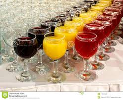 glasses with drinks on the table for buffet stock photo image
