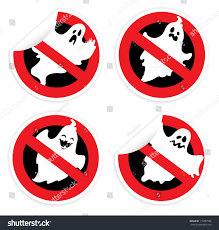 sticker prohibition sign ghost halloween stock vector 110297396