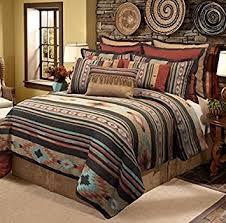 Tribal Pattern Comforter Amazon Com 4 Piece Red Brown Southwest Comforter Queen Set