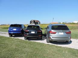 porsche cayenne vs bmw x5 bmw x5 m vs porsche cayenne turbo s vs range rover sport svr