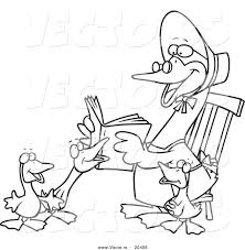 vector of a cartoon mother goose reading to goslings coloring