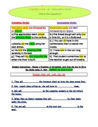 transitive and intransitive verb introductory activity sheet by
