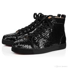 black silver glitter beads sneakers collection 18s high top red