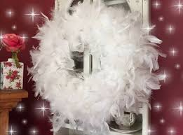 white feather wreath boa door wall hanging 16 inches shabby chic