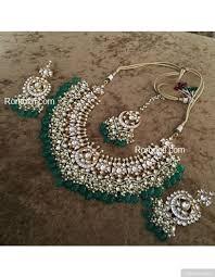 bridal necklace earring images Luxurious polki kundan green jade stones bridal necklace earrings jpeg