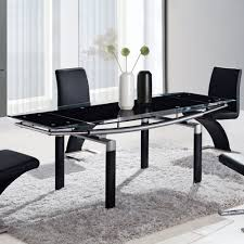 Global Furniture Dining Room Sets Global D88dt Rectangular Black Glass Dining Table W Black Legs