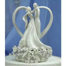 porcelain wedding cake toppers vintage pearl and heart wedding cake topper wedding cake