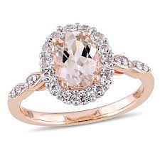 pink morganite 1 83ctw pink morganite and white diamond 14k gold halo ring