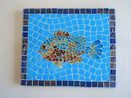 mosaic fish home decor cottage decor wall art