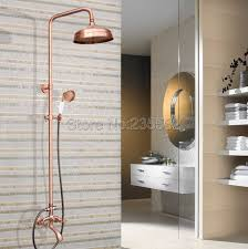 bathroom rain shower faucet set with rainfall shower heads red