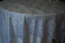 silver lace table overlay white with silver sequins lace trim overlay linens and beyond
