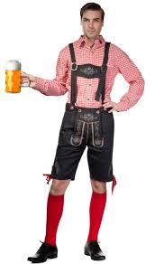 men s red checkered men s oktoberfest costume men s lederhosen costume
