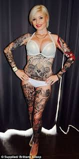 miss ink australia brittany allsop tattooed her legs to cover her