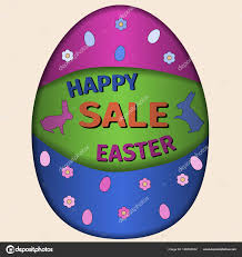 easter egg sale happy easter day sale card illustration vector rabbit and easter
