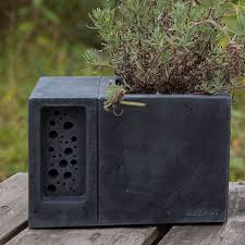 charcoal concrete planter with bee hotel beepot by green u0026blue