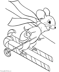 christmas coloring pages candy cane skis