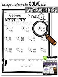 math mystery phrases without regrouping 2 u0026 3 digit addition