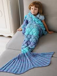 kid blankets home decor crochet fish scale knit mermaid blanket