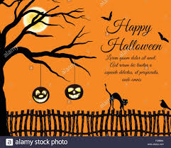 happy halloween greeting card elegant design with tree bats