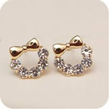 korean earings plated k gold bow the new korea korean earrings 0576