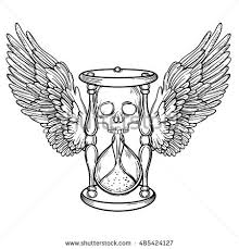 decorative antique death hourglass illustration wings stock vector