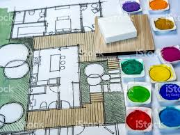 watercolor and pencil freehand sketch floor plan real estate