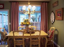 French Farmhouse Style Kitchen Diner by Green Walls With Red Curtains In Kitchen Kitchens Decorating