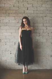 black tulle strapless ankle length vintage inspired bridesmaid