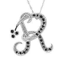 necklace pendants letters images Buy 14k white gold initial r black diamond pendant necklace online jpg