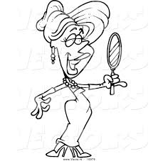 vector of a cartoon beautiful blond woman using a hand mirror