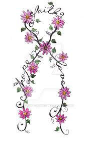cancer ribbon tattoo flowers by expedient demise on deviantart