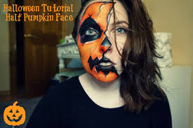 halloween tutorial half pumpkin face 2015 youtube