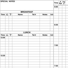 Restaurant Reservation Sheet Template Restaurant Reservation Books