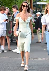 pippa middleton wears a mint green off the shoulder dress at