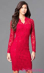 knee length long sleeve lace cocktail dress
