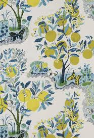 schumacher citrus garden folk art linen fabric pool