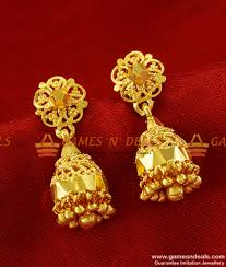 earrings gold design er274 traditional medium size daily wear guarantee jhumki design