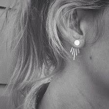 in earrings silver leaf earring with chain ear cuff ear clip by ideacreation