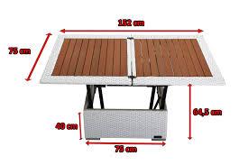 H Enverstellbarer Tisch Outflexx Loungetisch Höhenverstellbar Weiß Polyrattan 75