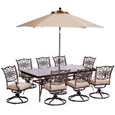Hanover Patio Furniture Hanover 9 Piece Outdoor Dining Set With Rectangular Glass Table