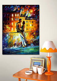 Canvas Home Store by Night Date Romantic Lover At Balcony Palette Knife Oil Painting