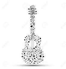 decoration of musical notes in the shape of a guitar royalty free