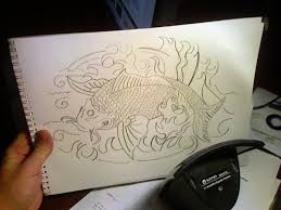 traditional koi fish sketch by gilberg14 on deviantart