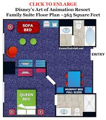 disney floor plans accommodations in the family suites at disney u0027s art of animation