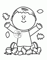 boy and autumn leaves coloring pages for kids fall leaves