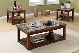 marble living room tables amazon com 3pc coffee table and end tables set with marble top