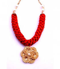 red flower necklace images Necklaces pendants red thread necklace gold flower pendant jpg