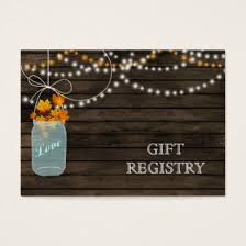 western wedding registry barnwood rustic fall jars gift registry business card