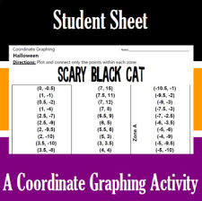 halloween scary black cat a coordinate graphing activity tpt