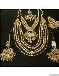 bridal necklace earring images Golden pearls and artificial kundan bridal necklace earrings jpg